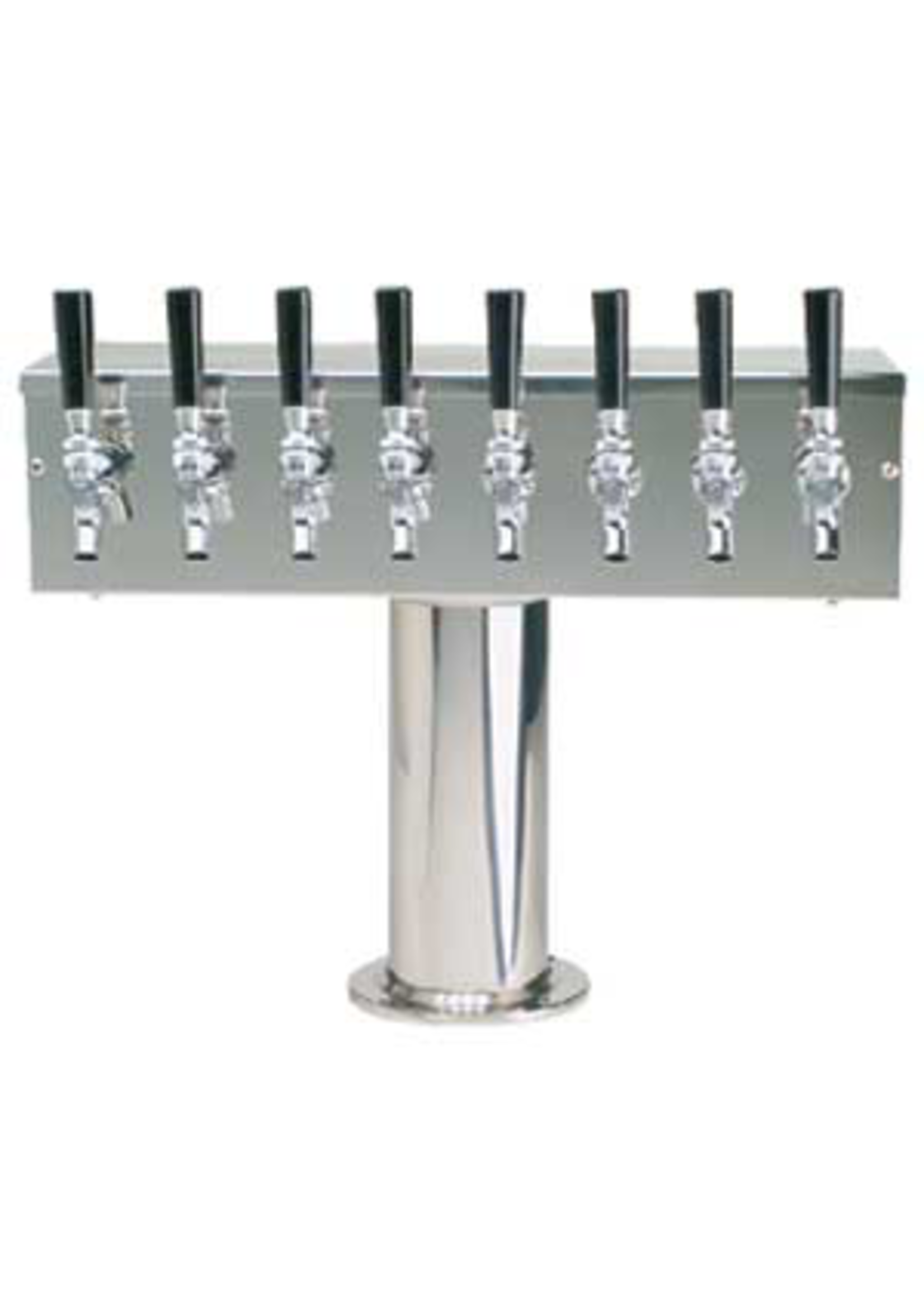 """Foxx """"T"""" Tower - Air Cooled - Stainless, 3"""" OD Round x 19"""" Wide - 8 Faucet (Chromed Brass)"""