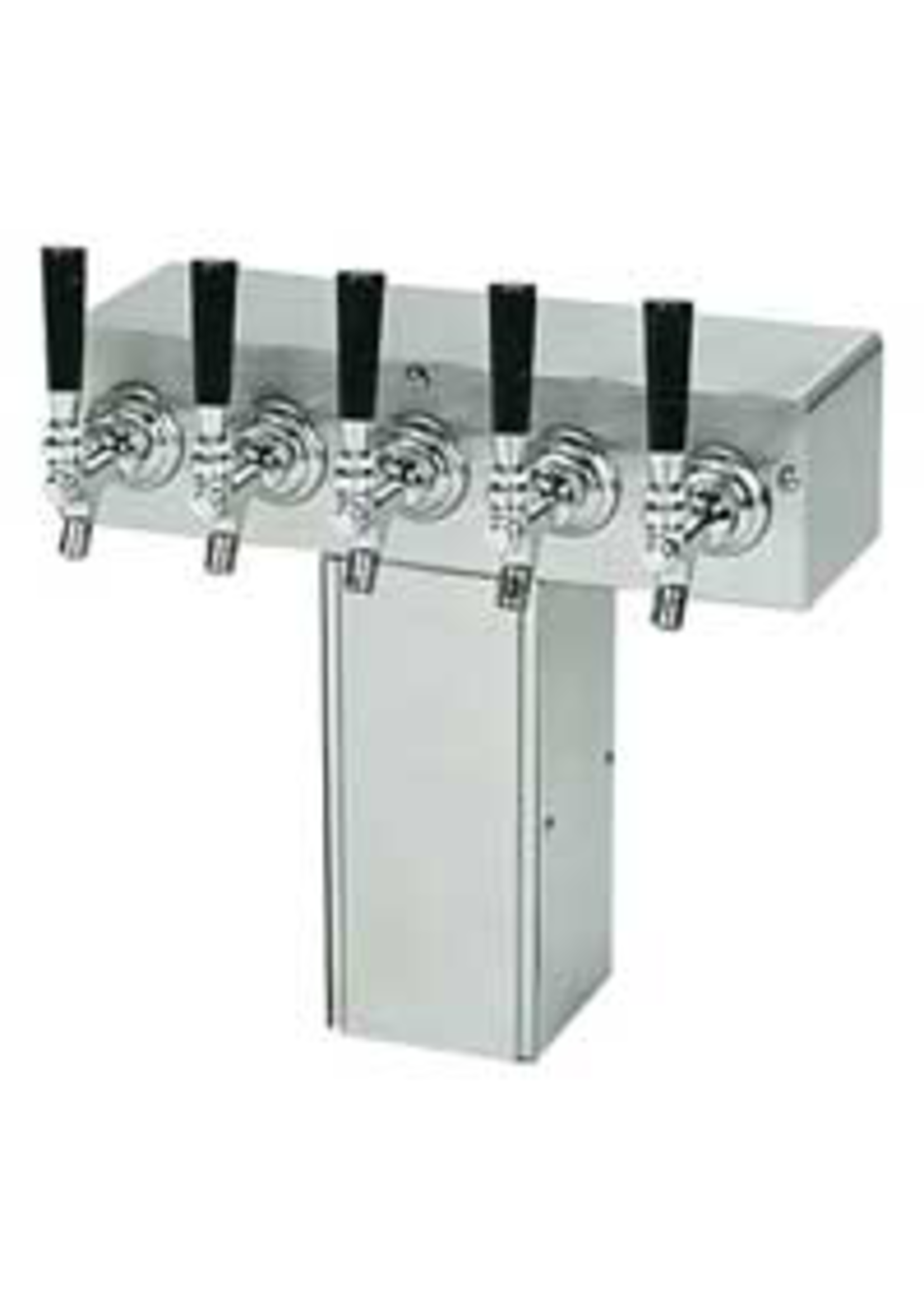 """Foxx """"T"""" Tower - Air Cooled - Stainless, 4"""" Square x 15"""" Wide - 5 Faucet (Chromed Brass)"""