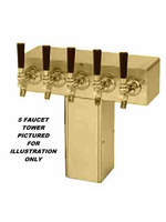 """Foxx """"T"""" Tower - Air Cooled - PVD Brass, 4"""" Square x 14-3/4"""" Wide - 5 Faucet (Brass)"""