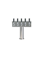 """Foxx """"T"""" Tower - Air Cooled - Stainless, 3"""" OD Round x 15"""" Wide - 5 Faucet (Chromed Brass)"""