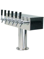 """Foxx """"T"""" Tower - Air Cooled - Stainless, 3"""" OD Round x 19"""" Wide - 6 Faucet (Chromed Brass)"""