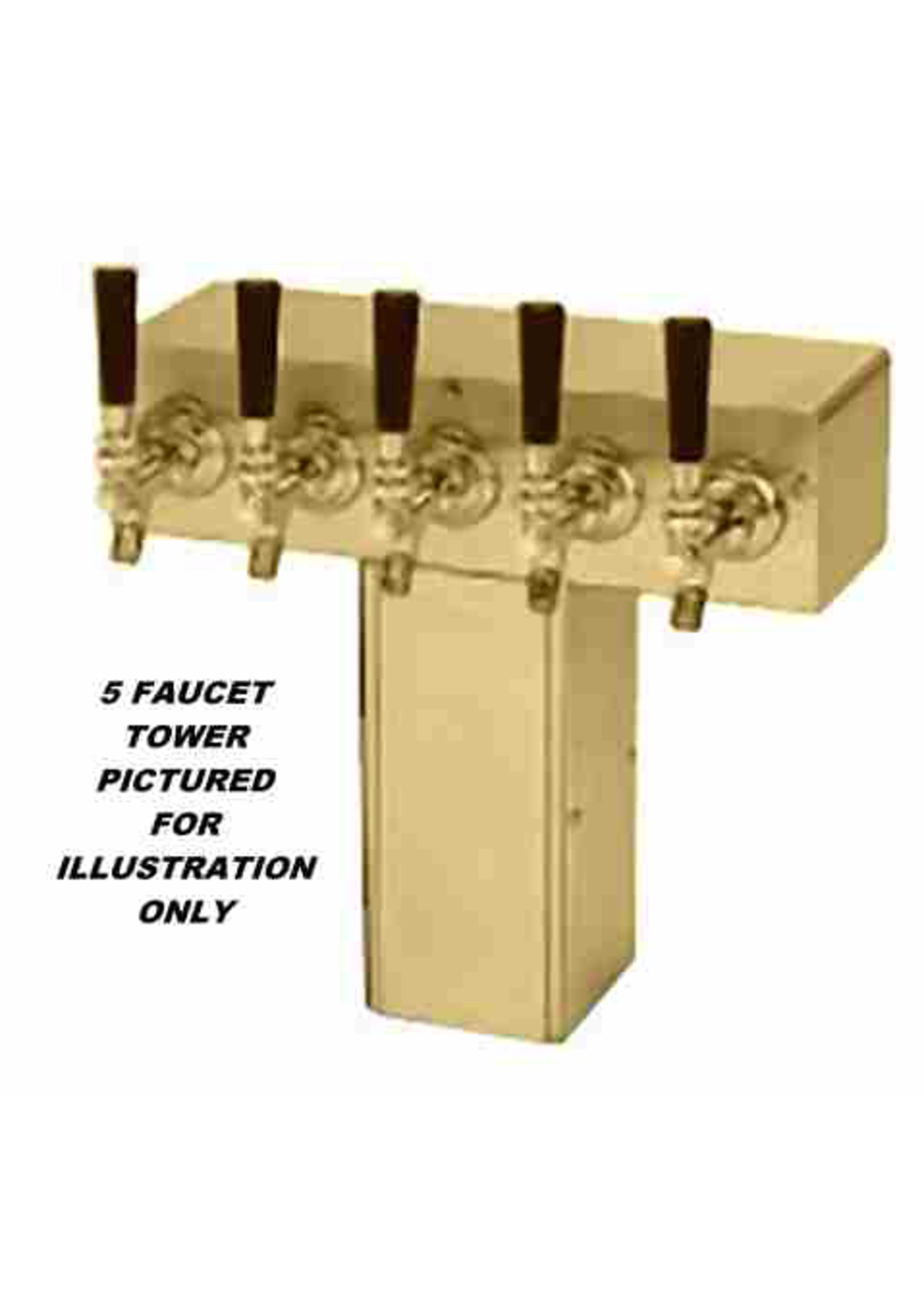 """Foxx """"T"""" Tower - Glycol Cooled - PVD Brass, 4"""" Square x 14-3/4"""" Wide - 5 Faucet (Brass)"""