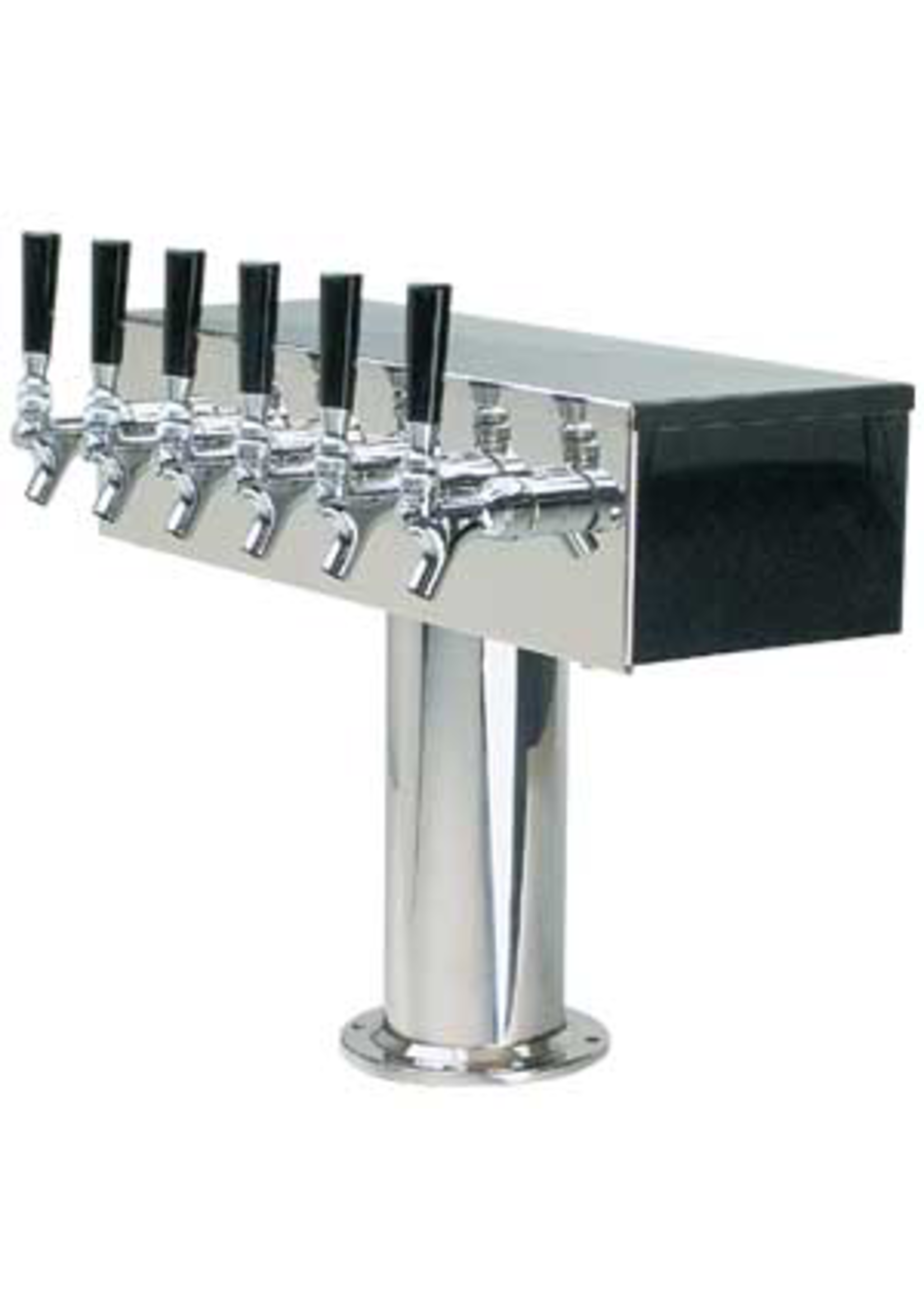 """Foxx """"T"""" Tower - Air Cooled - Stainless, 3"""" OD Round x 19"""" Wide - 6 Faucet (Stainless)"""