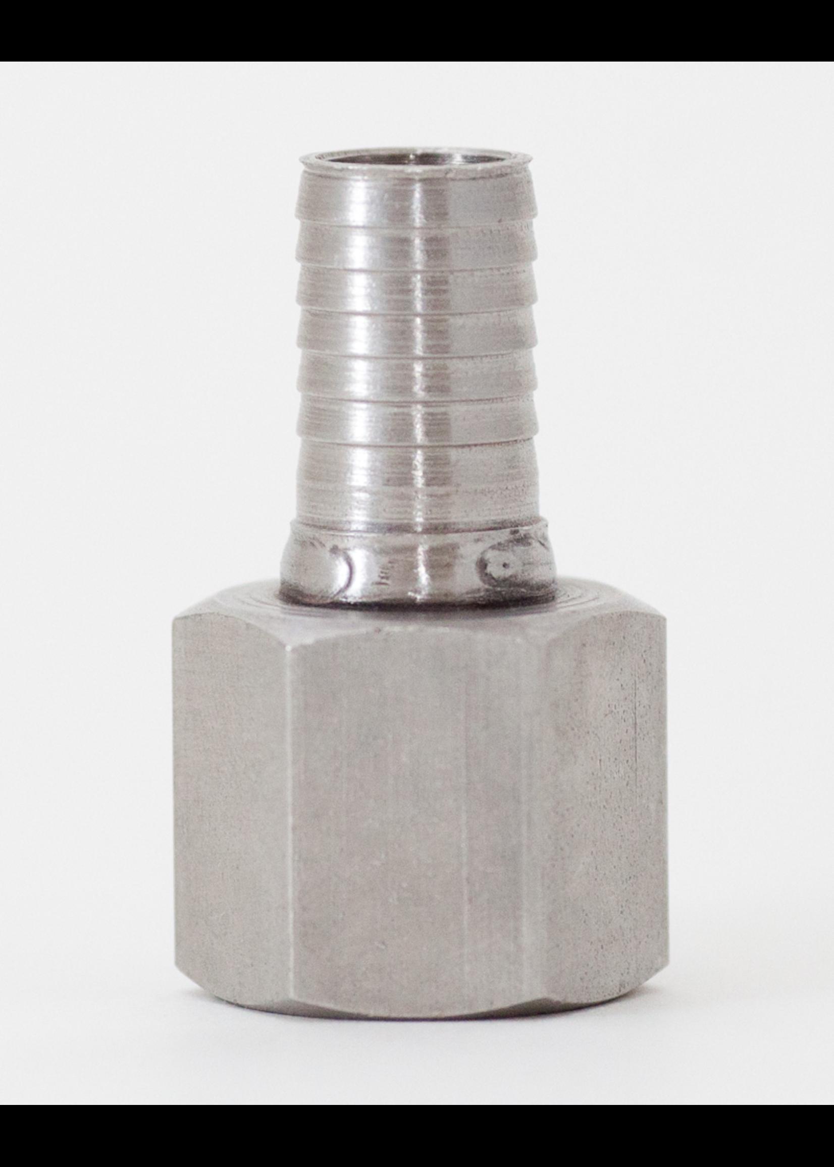 "Kegging Hose Stem - 1/2"" Barb x 1/2"" FPT - Stainless Steel - #C15"