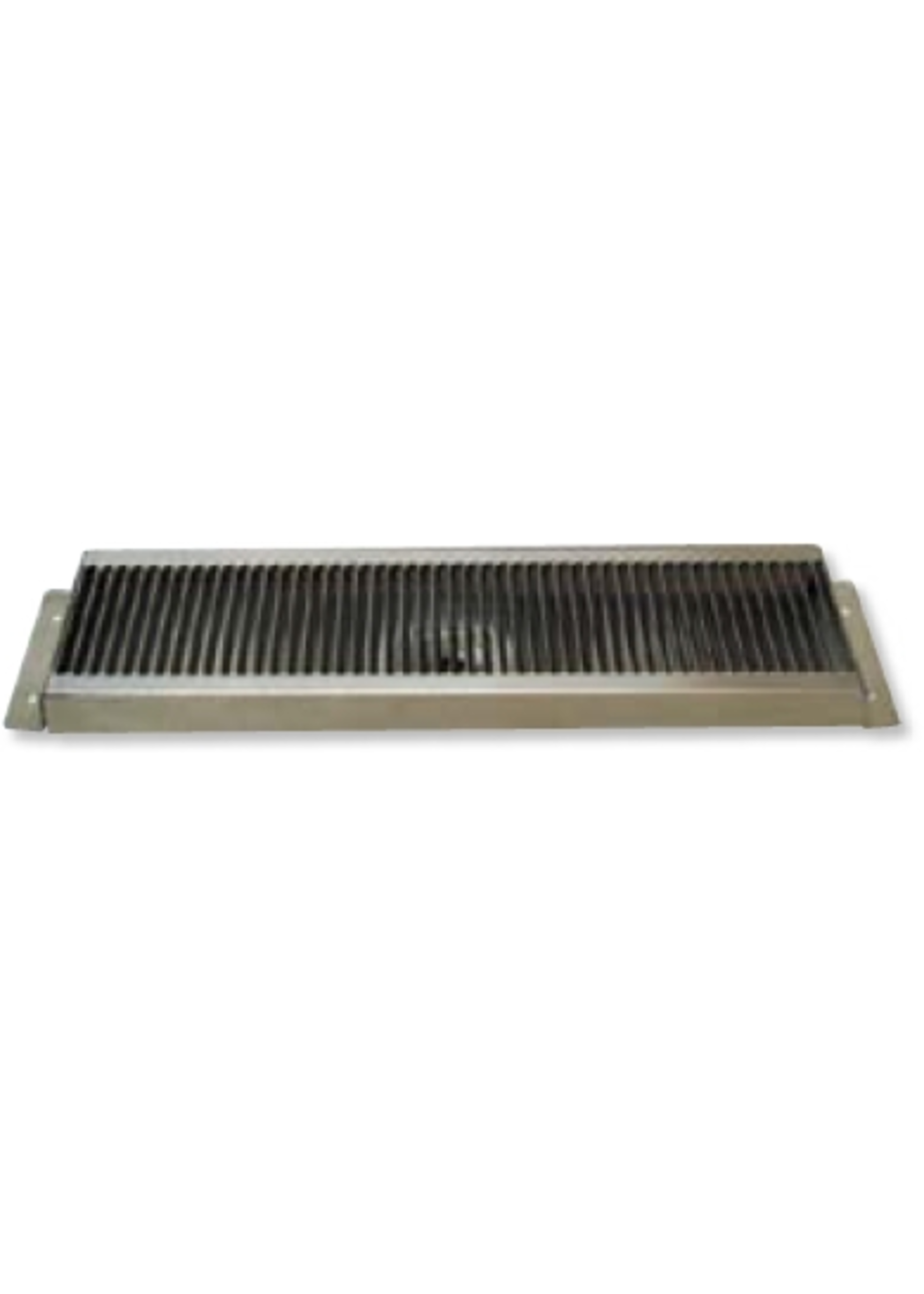 """Kegging Counter Mount Stainless Steel Drip Tray - 16"""" x 5.125"""" - 1"""" Drain Depth and 1/2"""" MPT Threaded Brass Drain Tube"""
