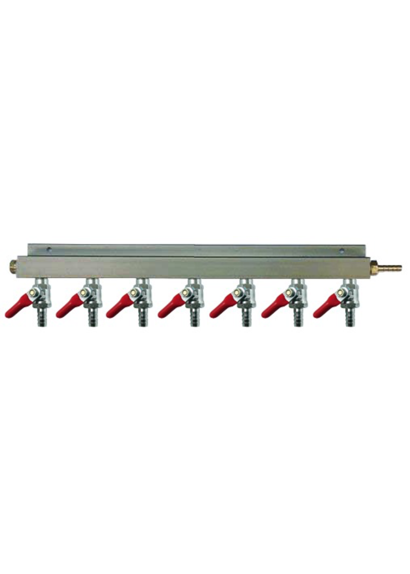 """Kegging 7-Way CO2 Distributor with 3/8"""" Barbed Shut-offs (With Check Valves)"""