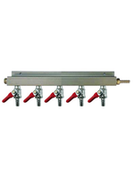 """Kegging 5-Way CO2 Distributor with 3/8"""" Barbed Shut-offs (With Check Valves)"""