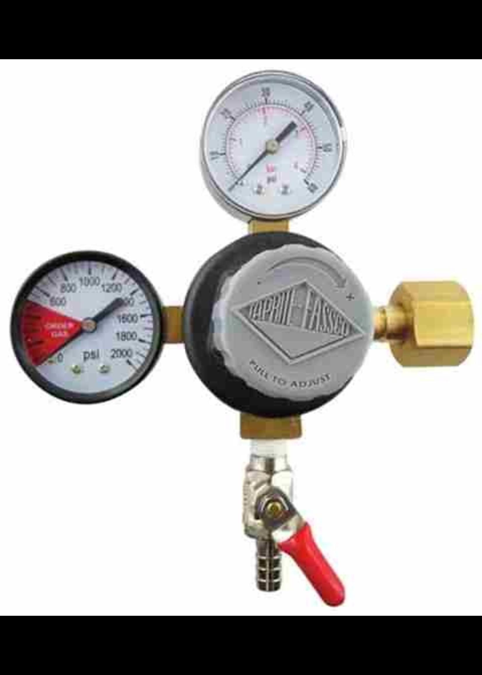 "Kegging Regulator, CO2 - 5/16"" Barb Shutoff, Taprite (1-60psi Gauge and 1-2000psi Gauge)"