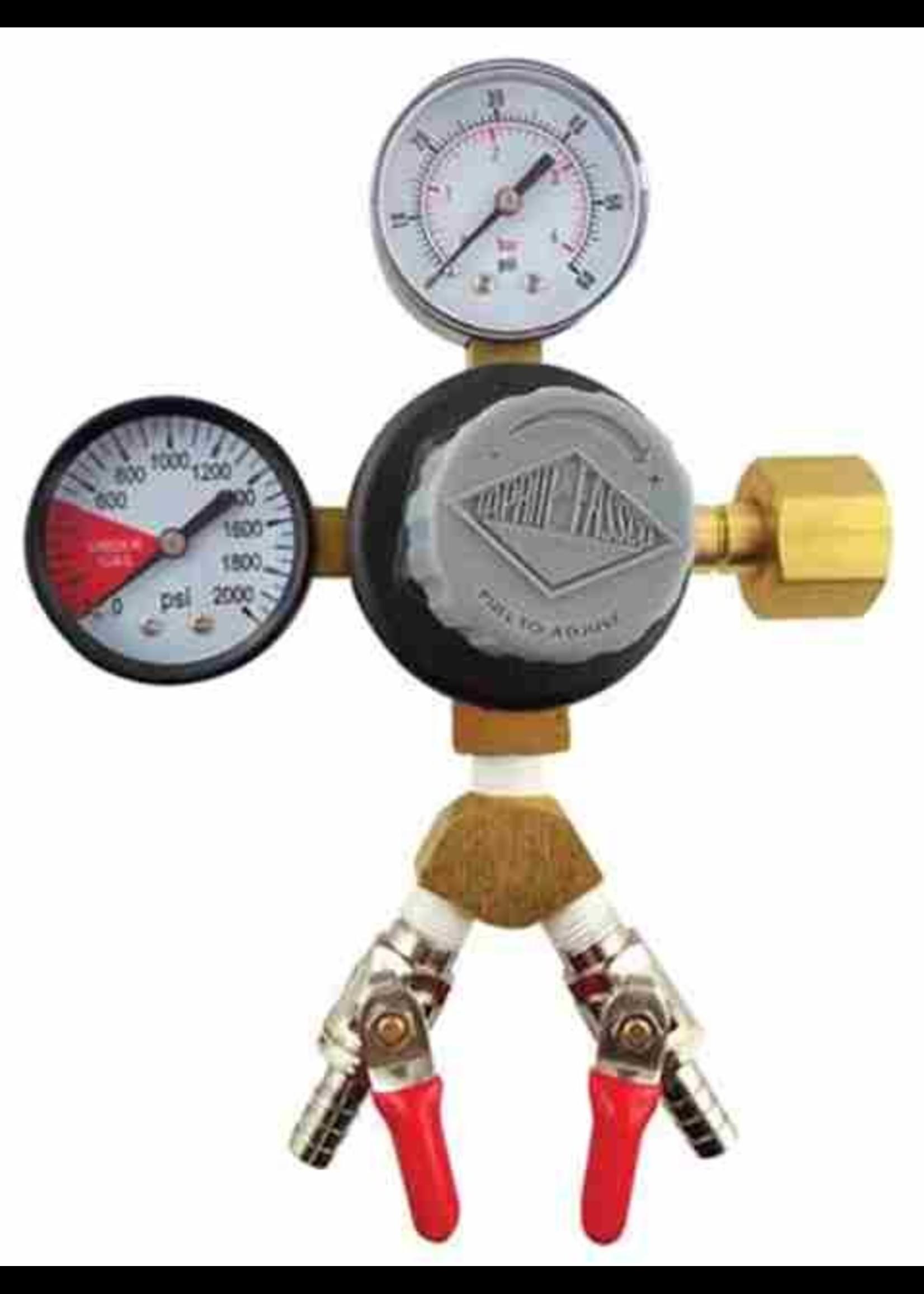 """Kegging Regulator, CO2 - 2x 5/16"""" Barb Shutoff, Taprite"""