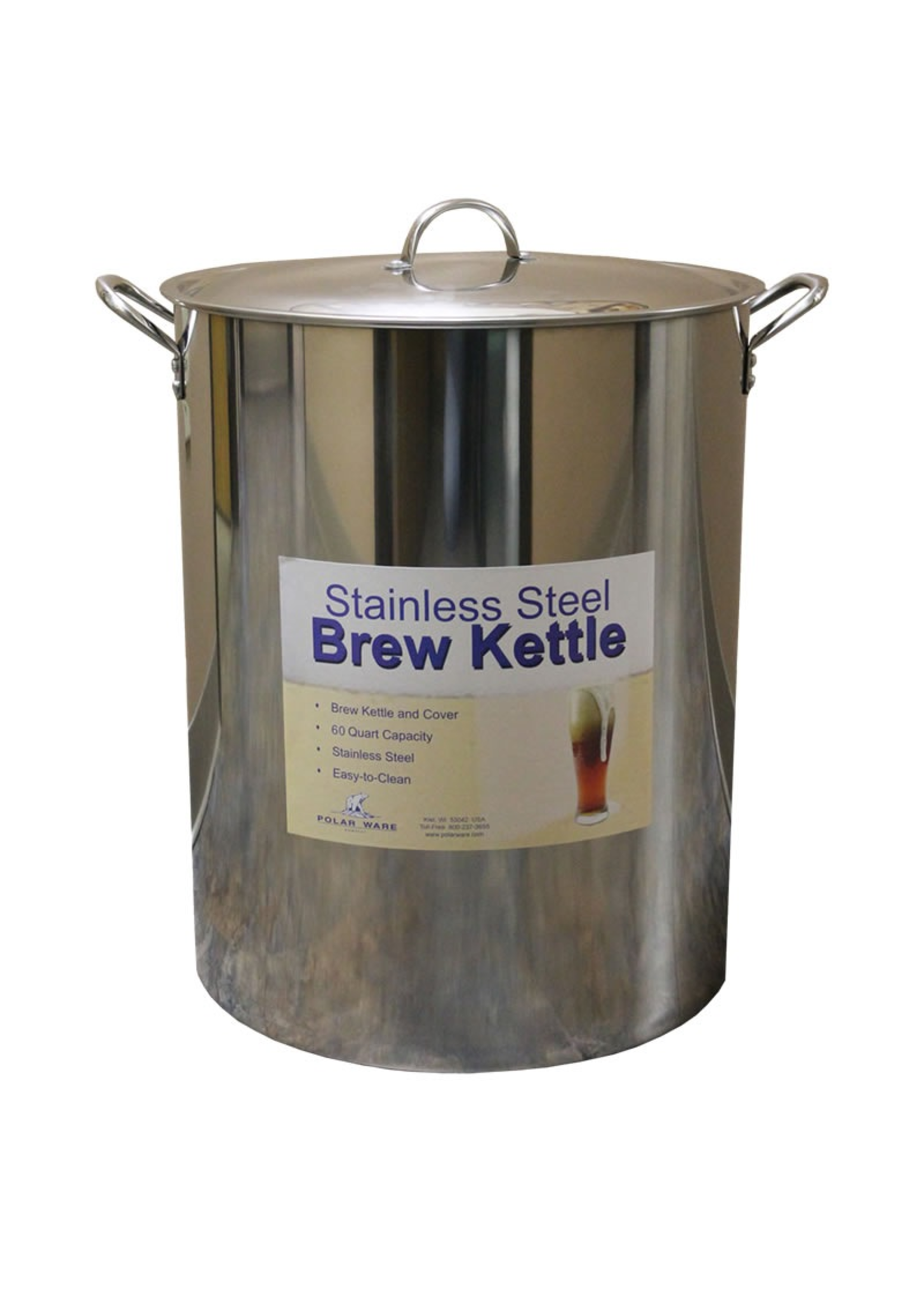 Brewing Polar Ware 60 Qt Stainless Steel Brew Kettle with Lid