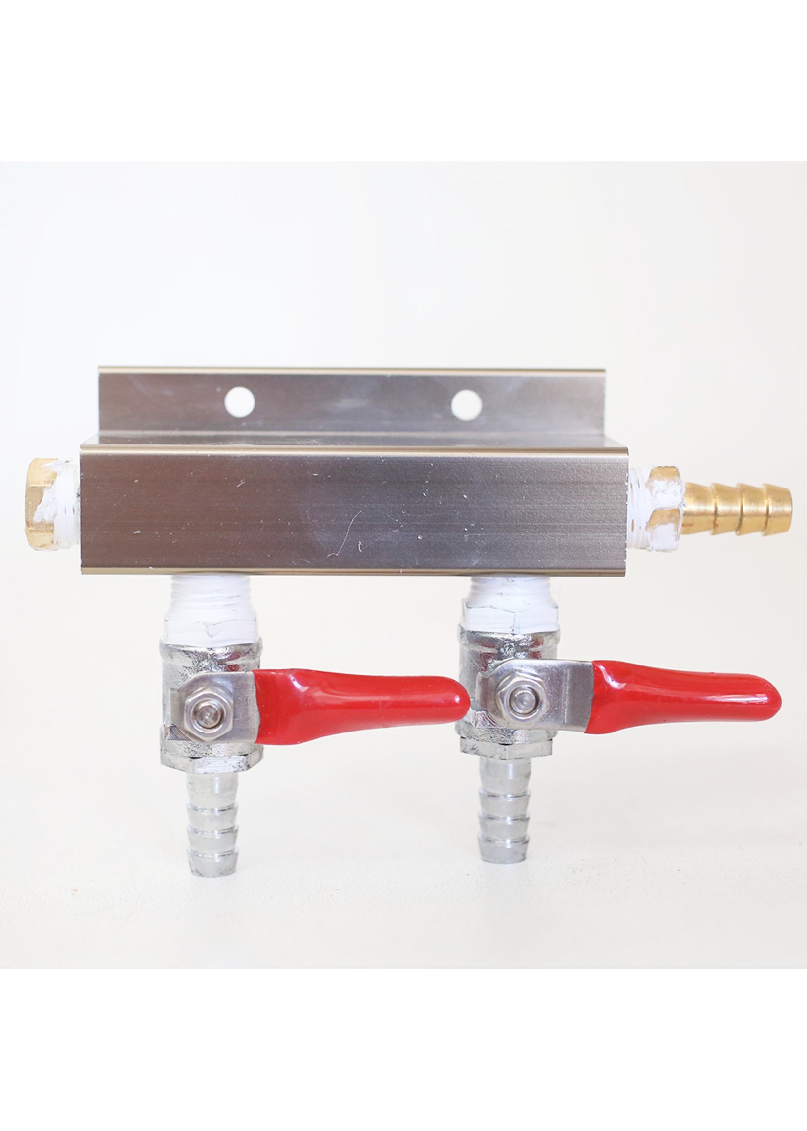 """Kegging 2-Way CO2 Distributor with 5/16"""" Barbed Shutoffs (With Check Valves)"""