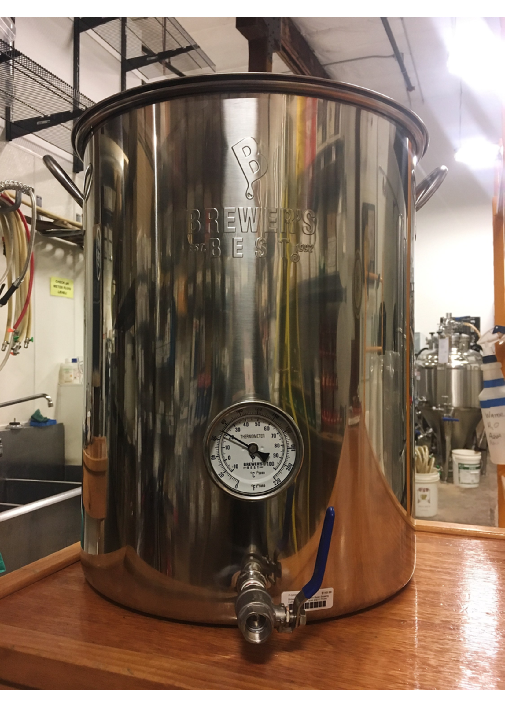 Brewing Brewer's Best 16 Gallon Basic Brewing Kettle w/ 316 S.S. Ball Valve and 4 Probe Thermometer