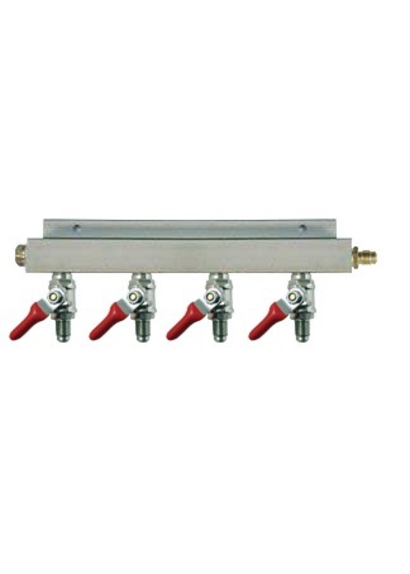 """Kegging 4-Way CO2 Distributor w/ 5/16"""" Barbed Shut-Offs (With Check Valves)"""