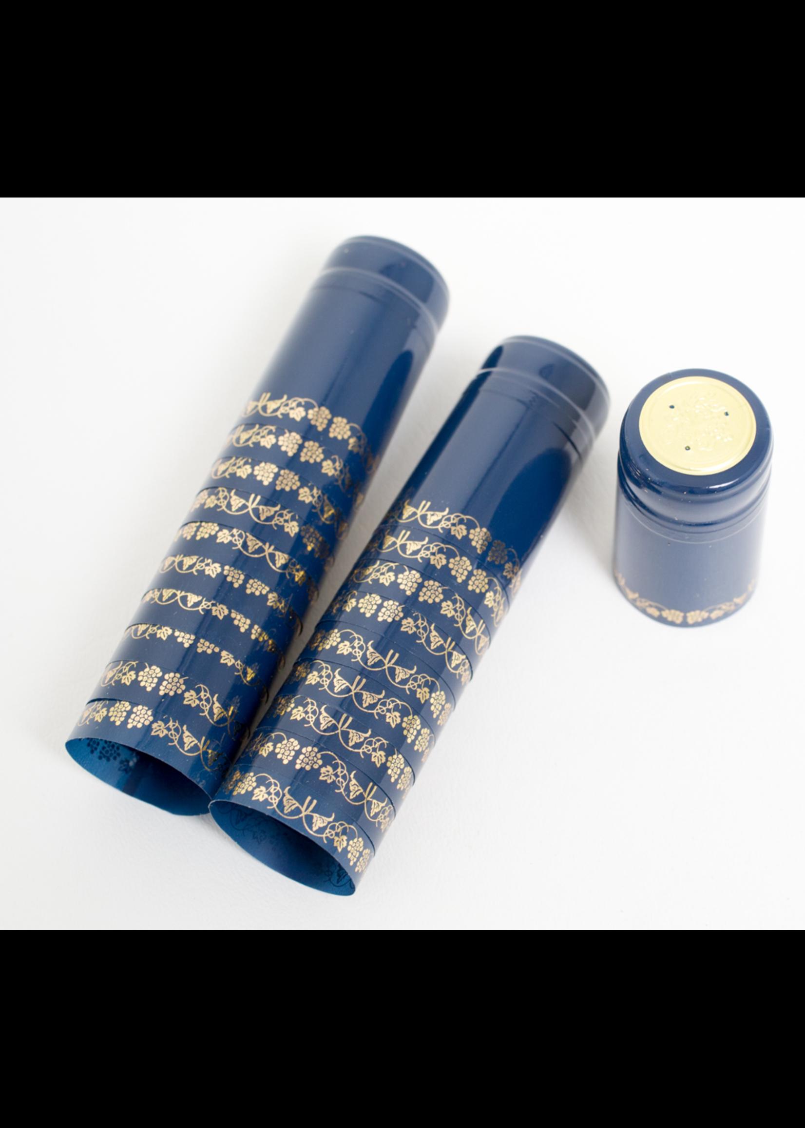 Racking/Bottling Shrink Capsules, PVC - Blue/Gold Grapes (30/bag)