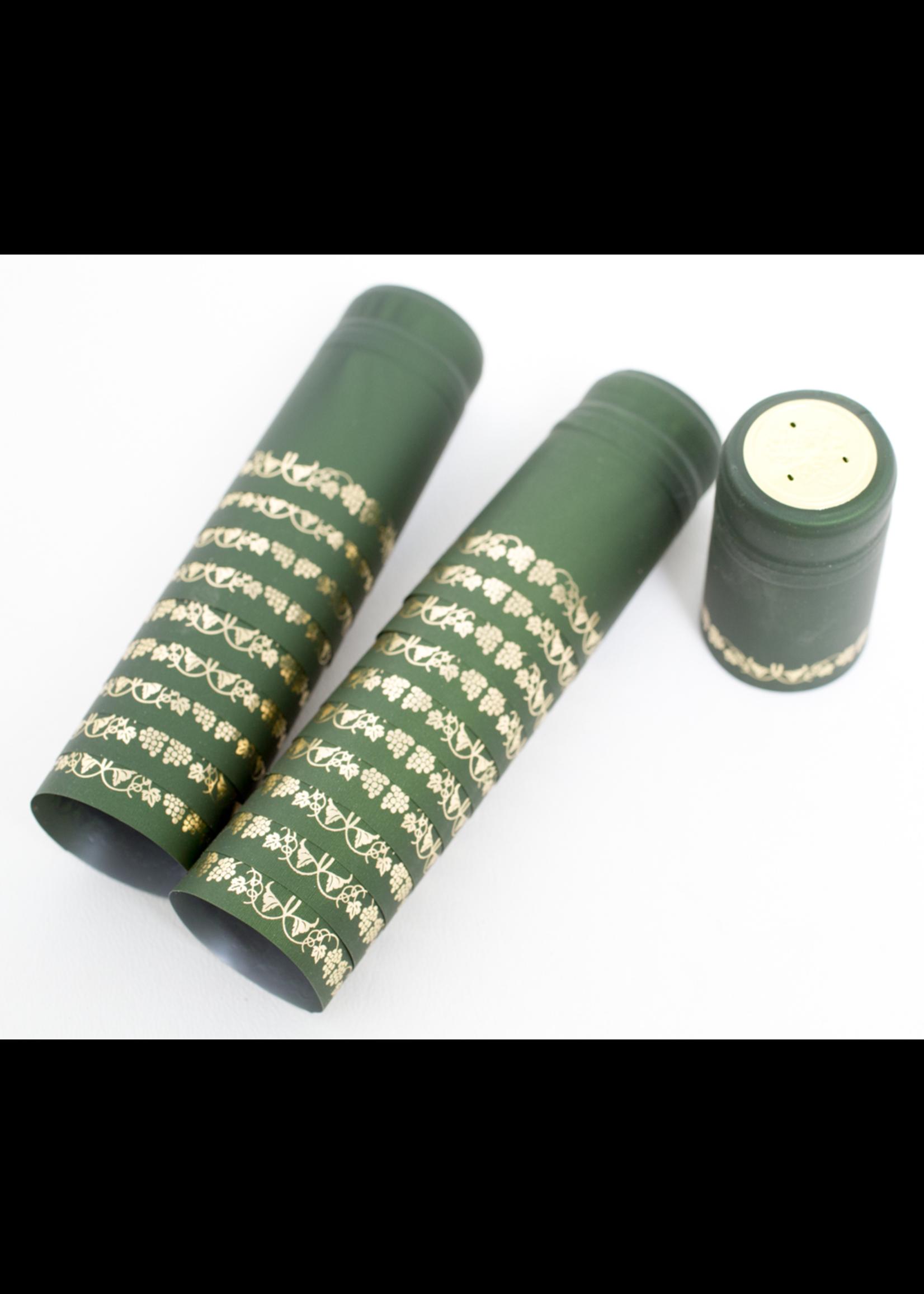 Racking/Bottling Shrink Capsules, PVC - Green/Gold Grapes (30/bag)