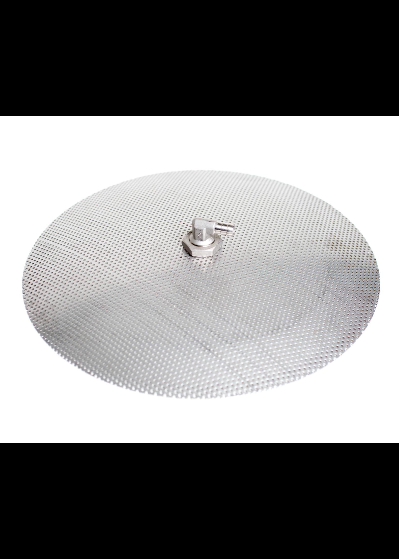 Brewing Stainless Steel Domed False Bottom 12 inch diameter w/elbo