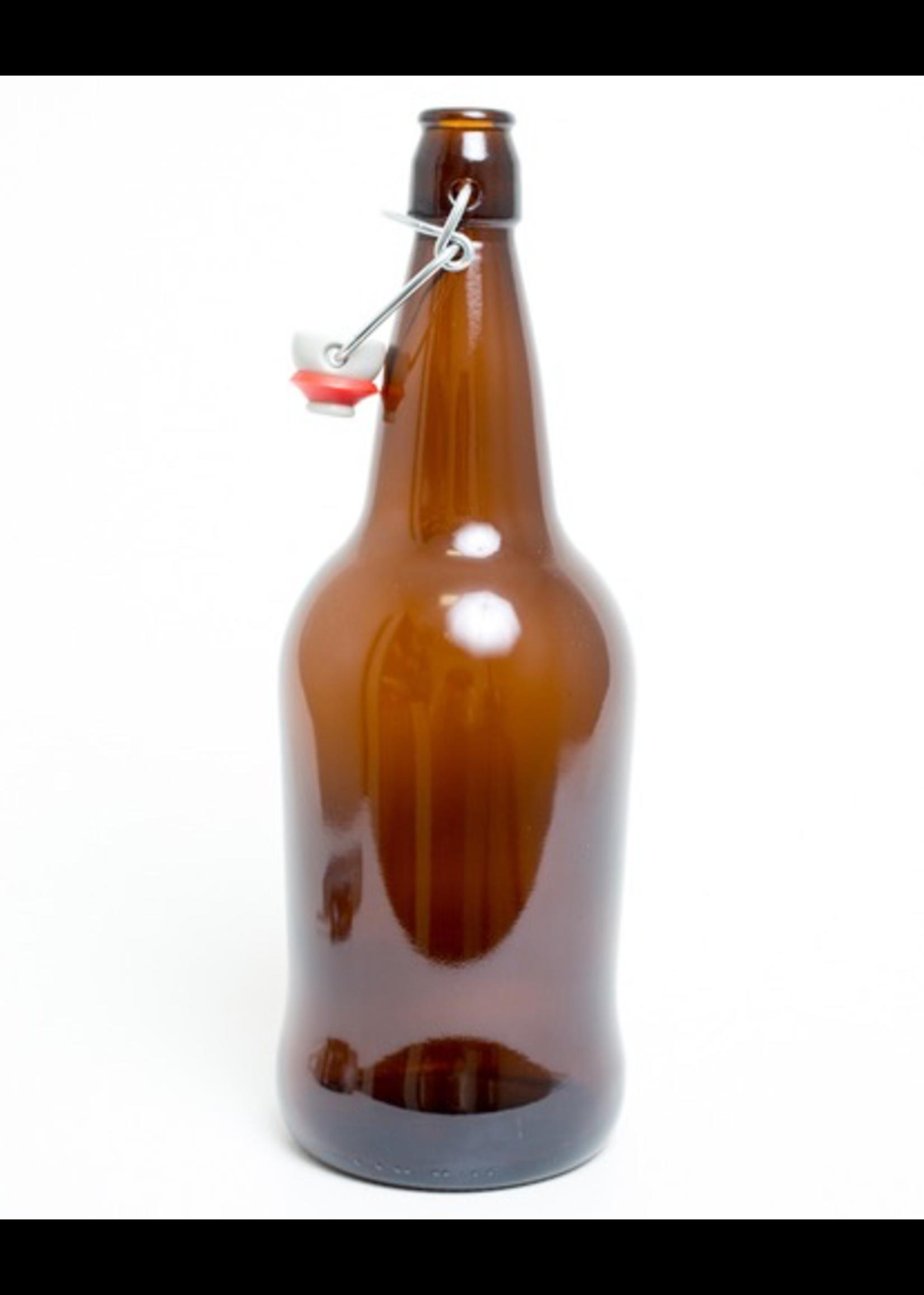 Racking/Bottling EZ Cap Bottle - 500 ml / 16 oz Flip Top - Amber (Each)