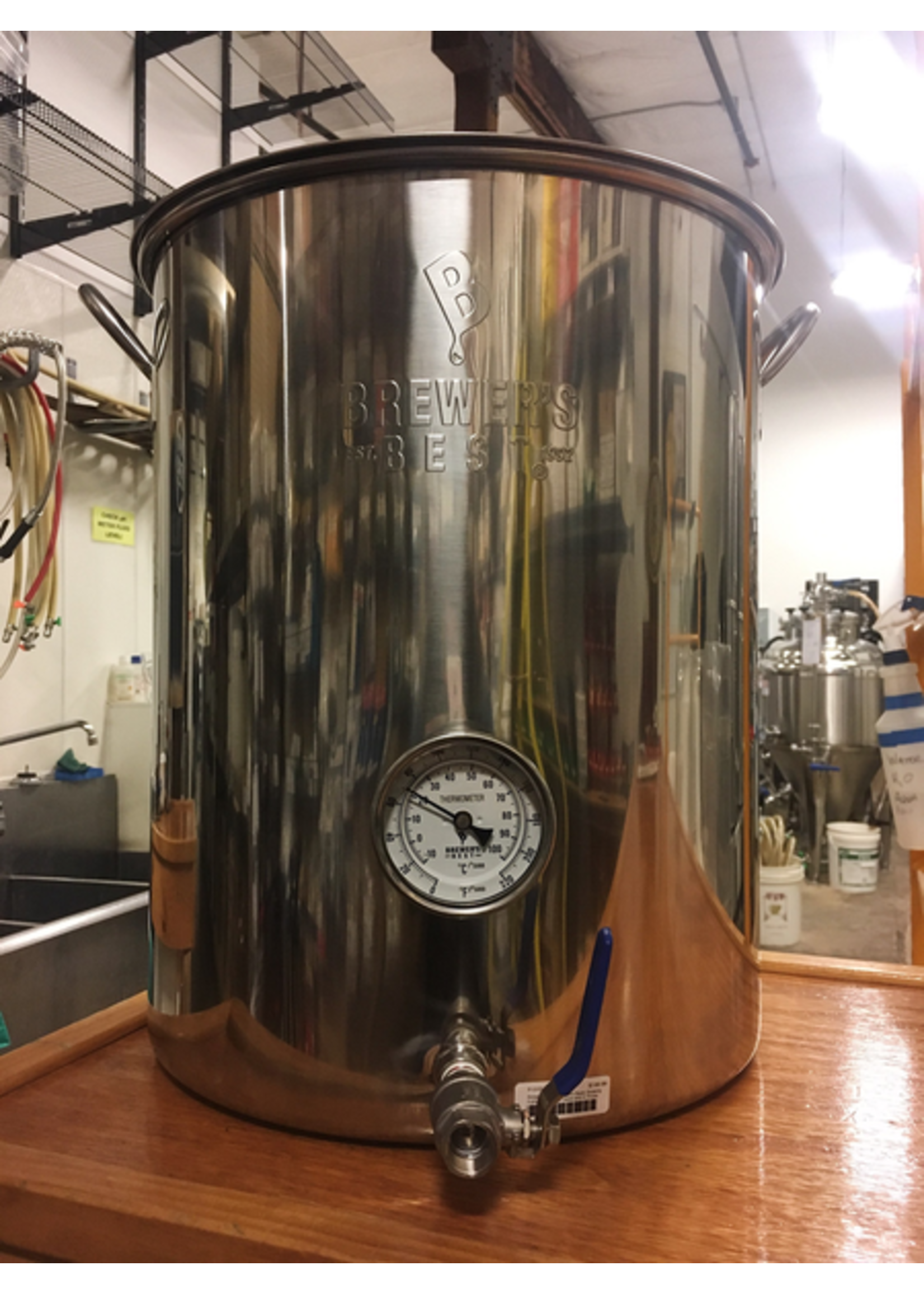 """Brewing Brewer's Best 8 Gallon Basic Brewing Kettle w/ 316 S.S. Ball Valve and 4"""" Probe Thermometer"""