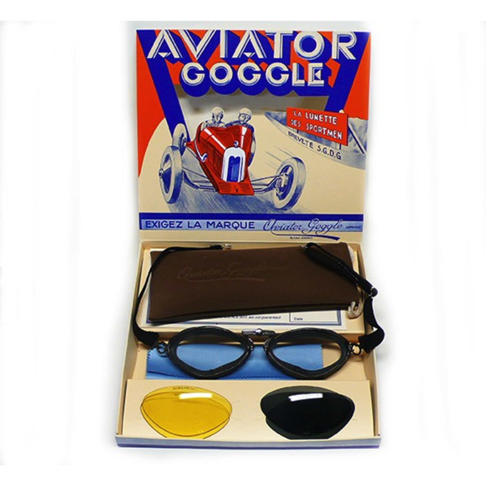 Apparel Goggles, Aviator Gun Metal Black Leather (France)