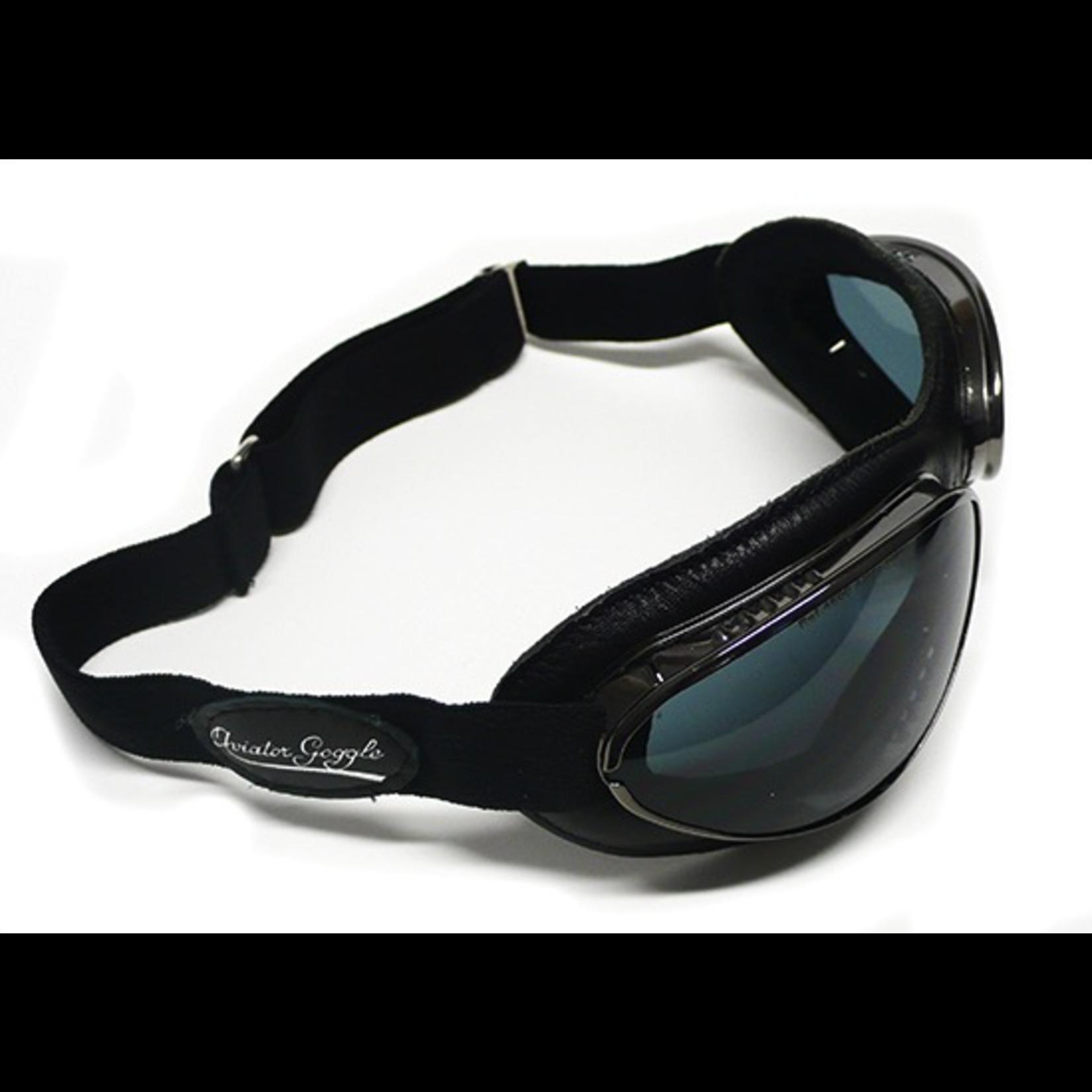 Apparel Goggles, Aviator Chrome Black Leather (France)