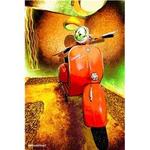 Lifestyle Poster, 70's Orange Vespa Rally 48x65cm