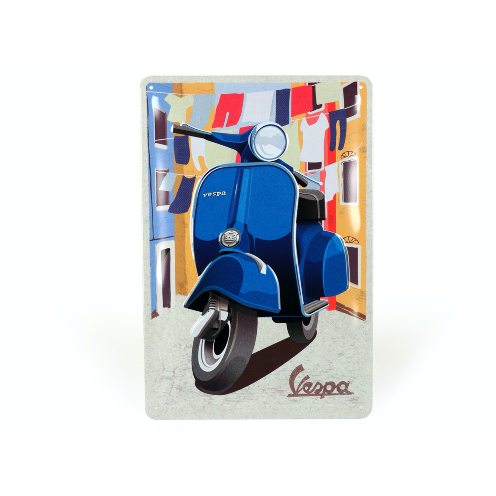 Lifestyle Sign, Metal Vespa Blue Italian Laundry 20x30cm