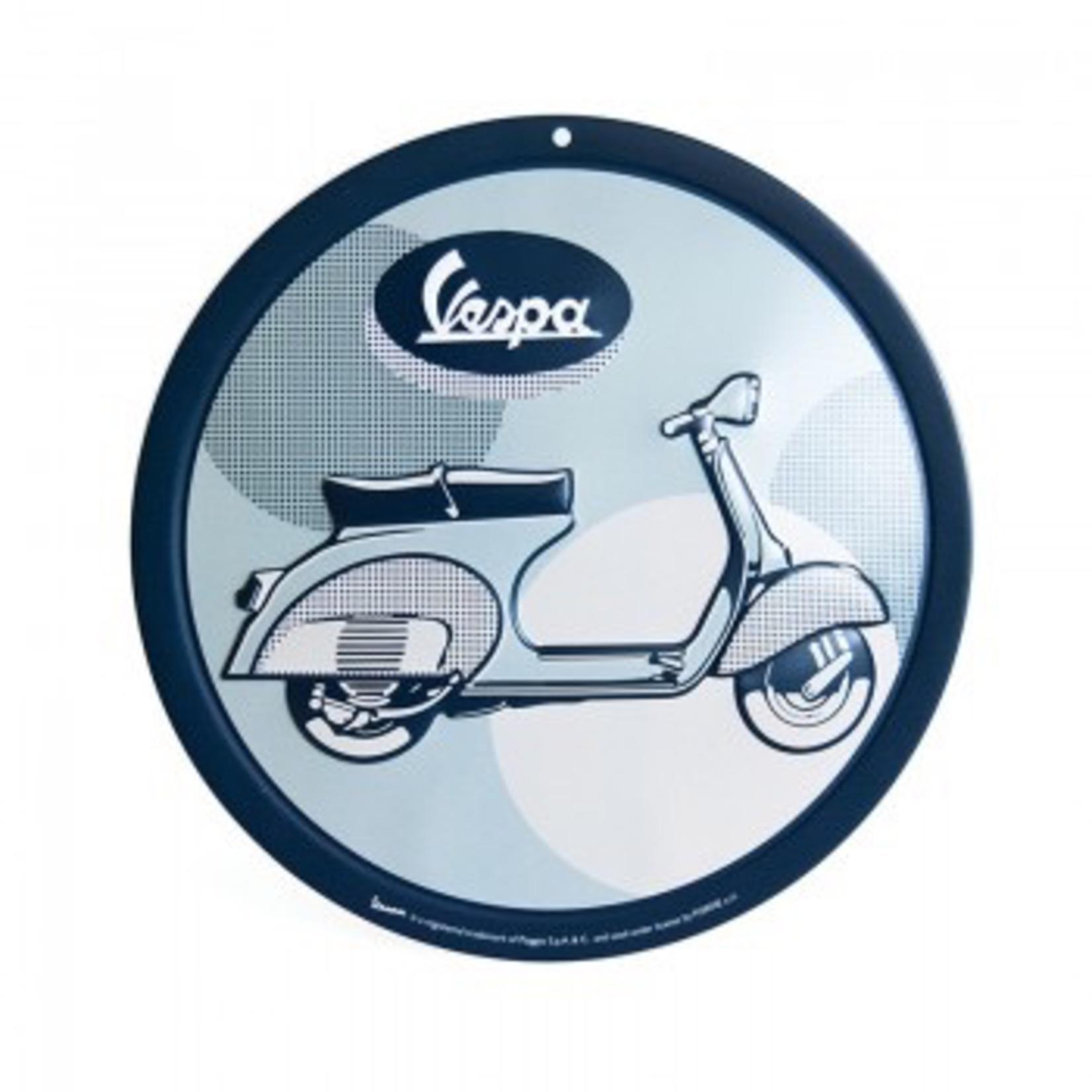 Lifestyle Sign, Metal Vespa Blue/Grey Round