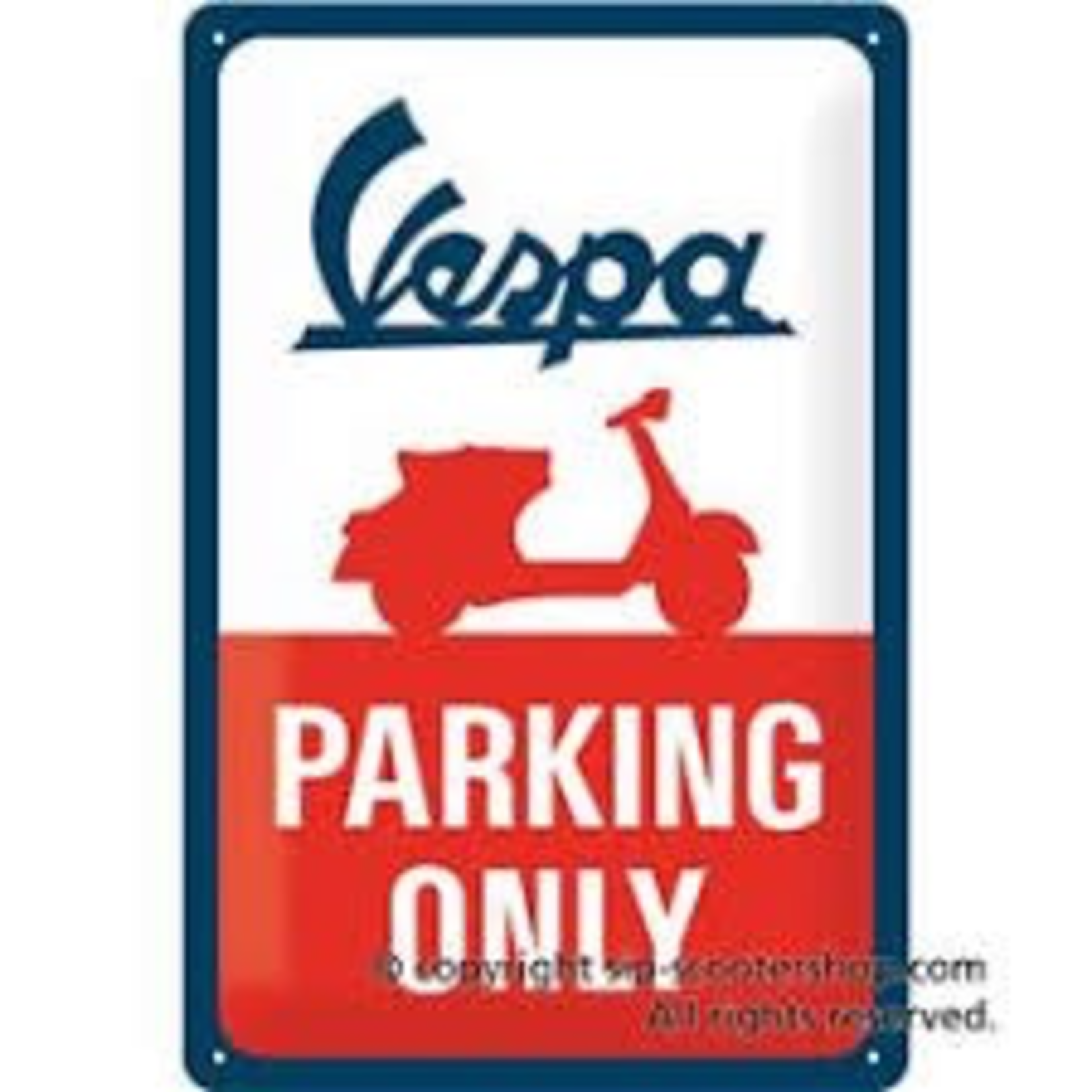 Lifestyle Sign, Metal Vespa Parking Only 20x30cm