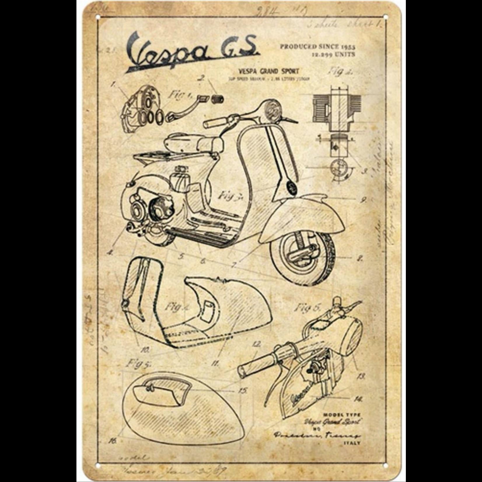 Lifestyle Sign, Metal Vespa Parts Sketches 20x30cm