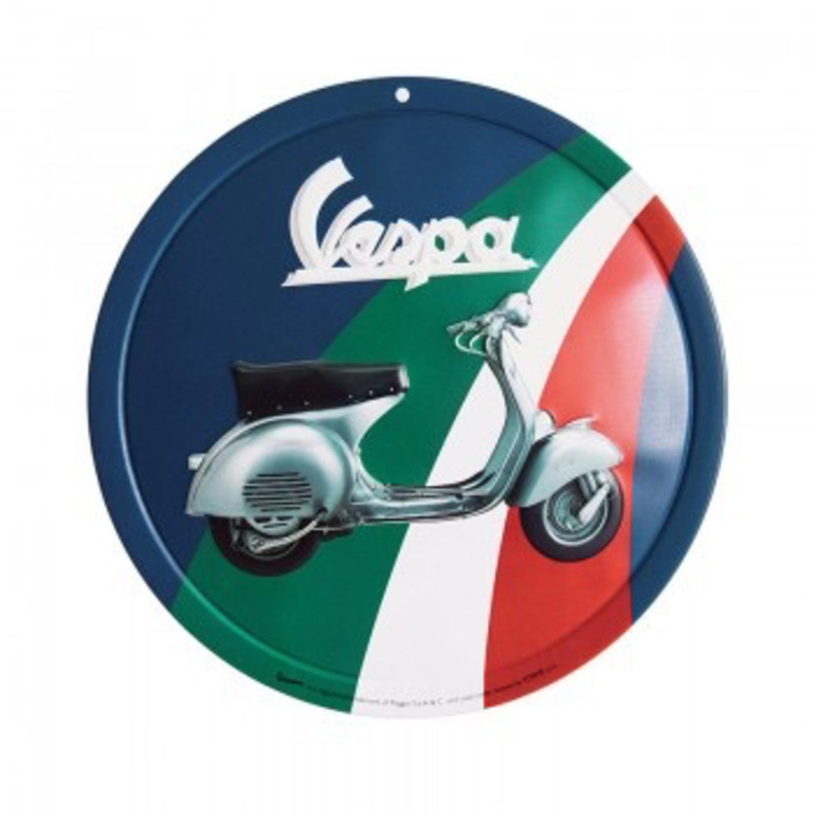 Lifestyle Sign, Metal Vespa Tricolore Green/White/Red