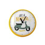 "Lifestyle Clock, Yellow Primavera ""Life is beautiful"" (250mm/9.8"" dia)"