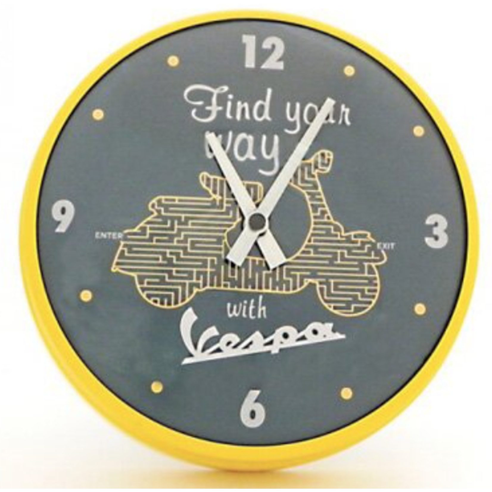 "Lifestyle Clock, ""Find your way with Vespa"" 10"" Dia Yellow"