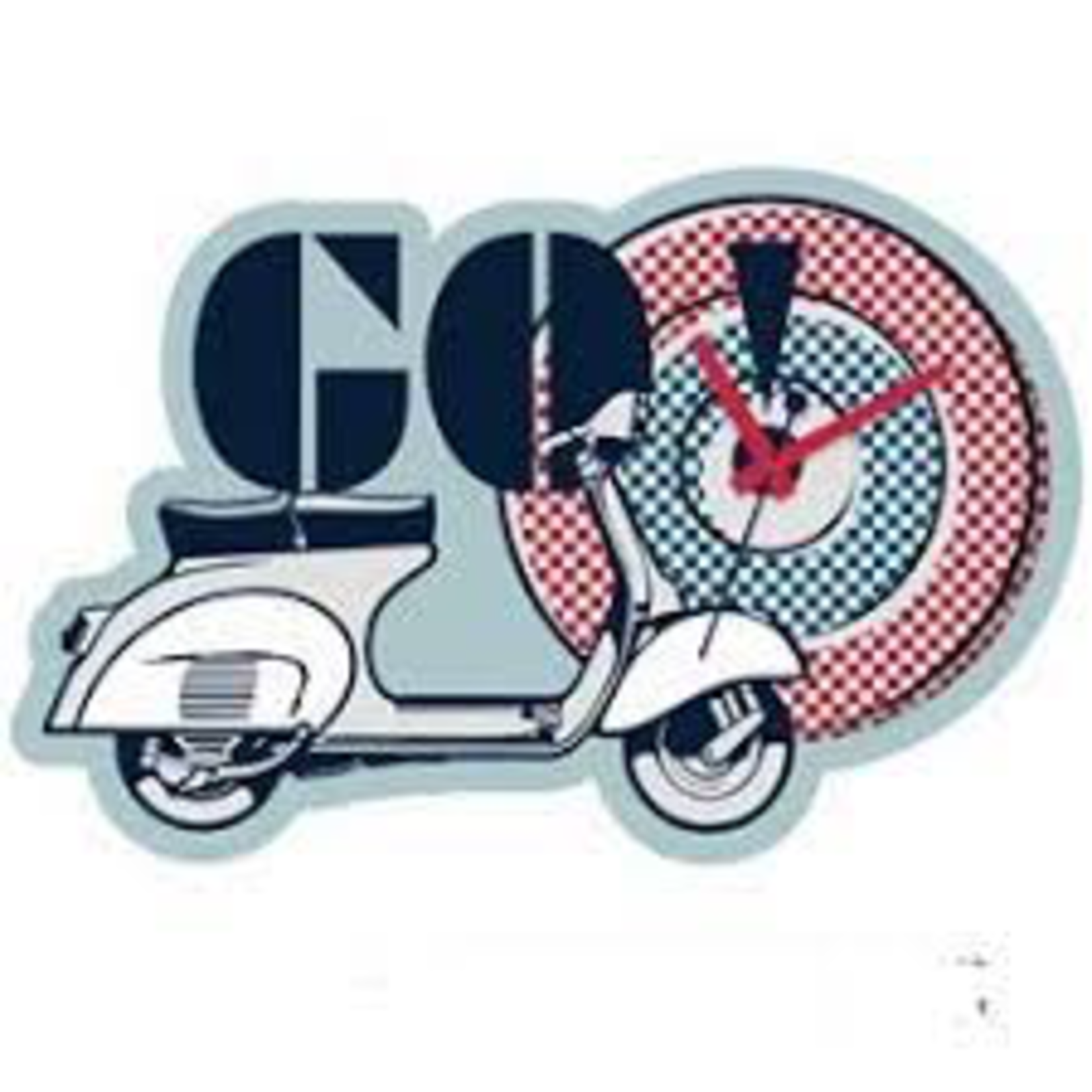 "Lifestyle Clock, 'Go Vespa"" Blue/White/Red"