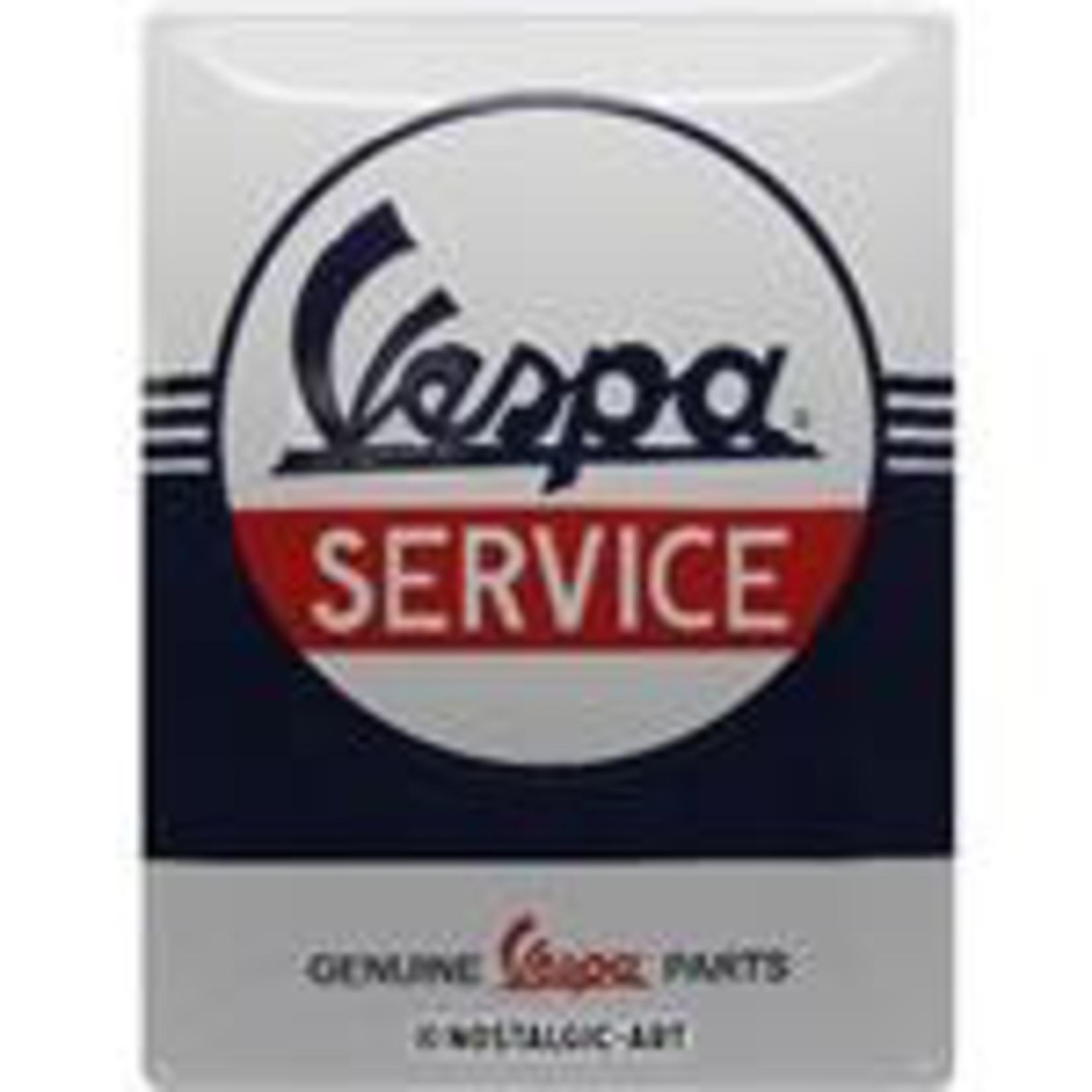 Lifestyle Sign, Vespa Service White/Blue/Red 15 x 20 cm