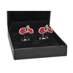 "Apparel Cufflinks, Vespa Silver ""PX"" Red"