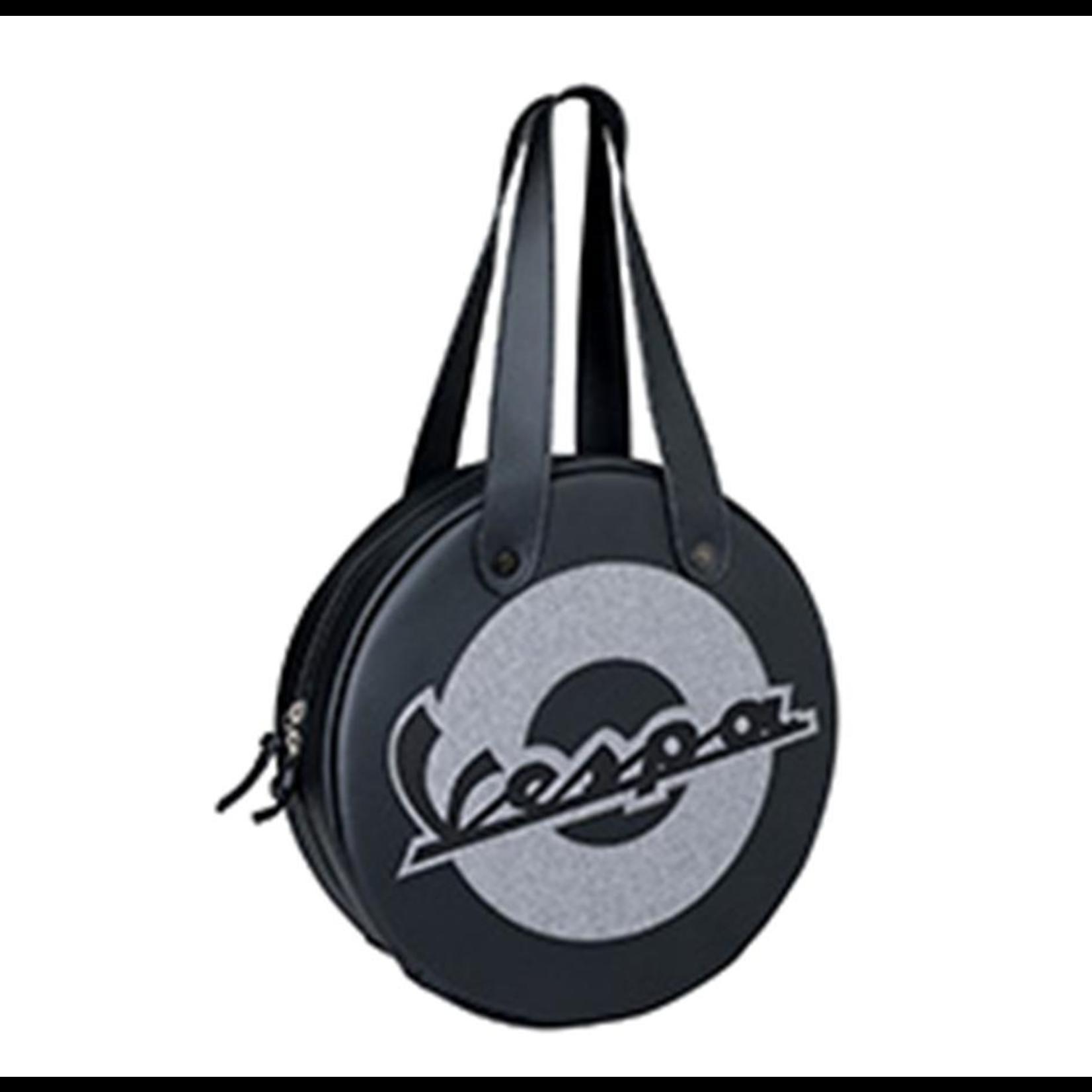Lifestyle Shoulder Bag, Black Vespa Wheel Shape