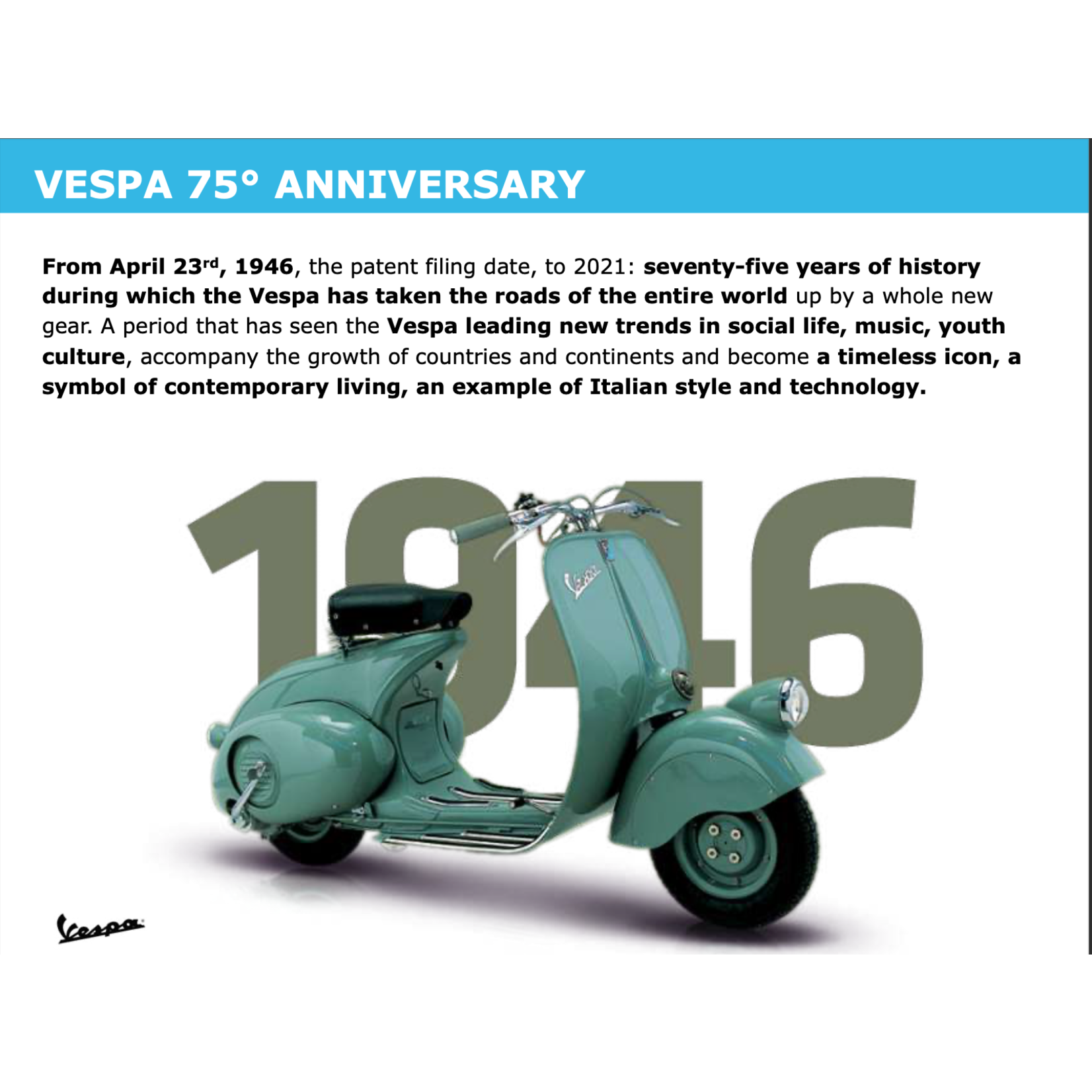 Vehicles Vespa, 2021 Primavera 50 75th Anniversary Celebration