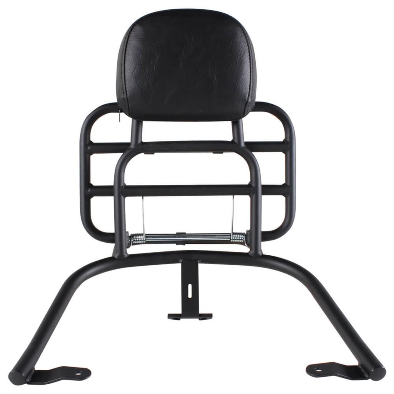 Accessories Rack, Vespa Primavera/Sprint Rear Black w/Backrest