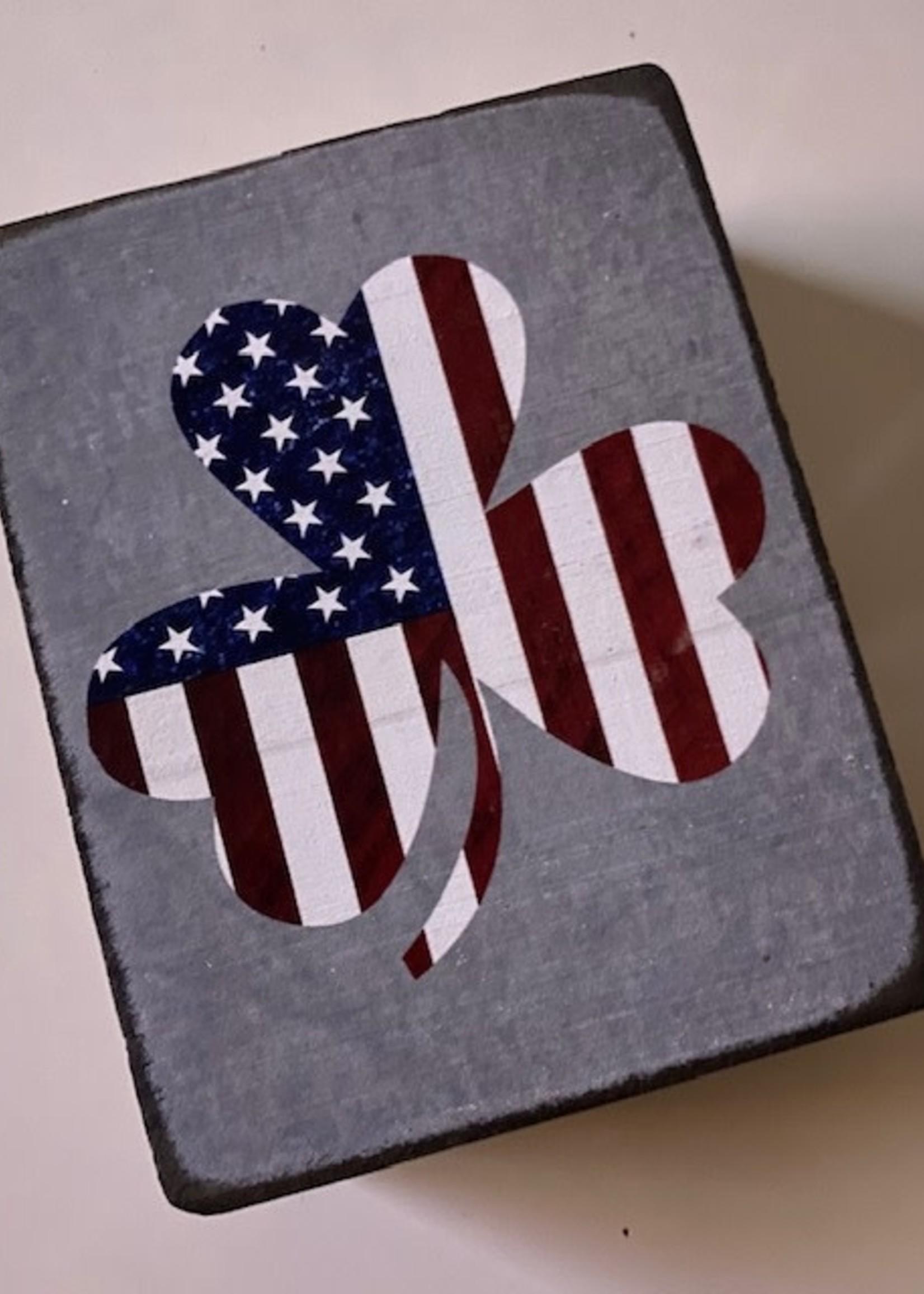 Rustic Marlin Flag (US) Shamrock Decorative Block