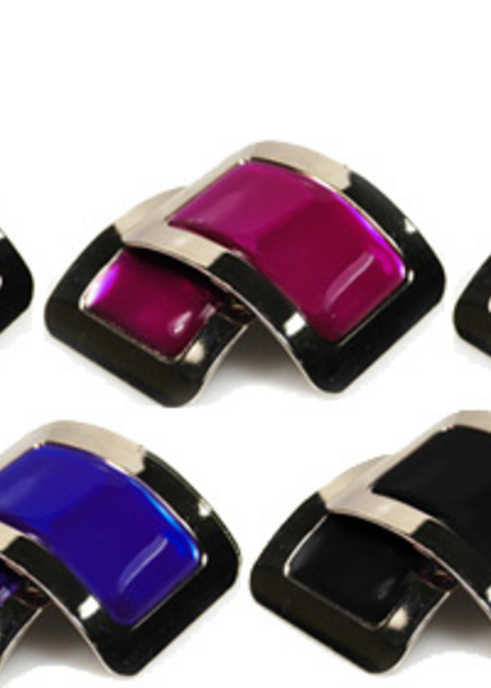 Black square colored glaze buckle Blk OneSize