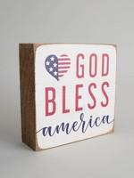 Rustic Marlin God Bless America Rustic Block