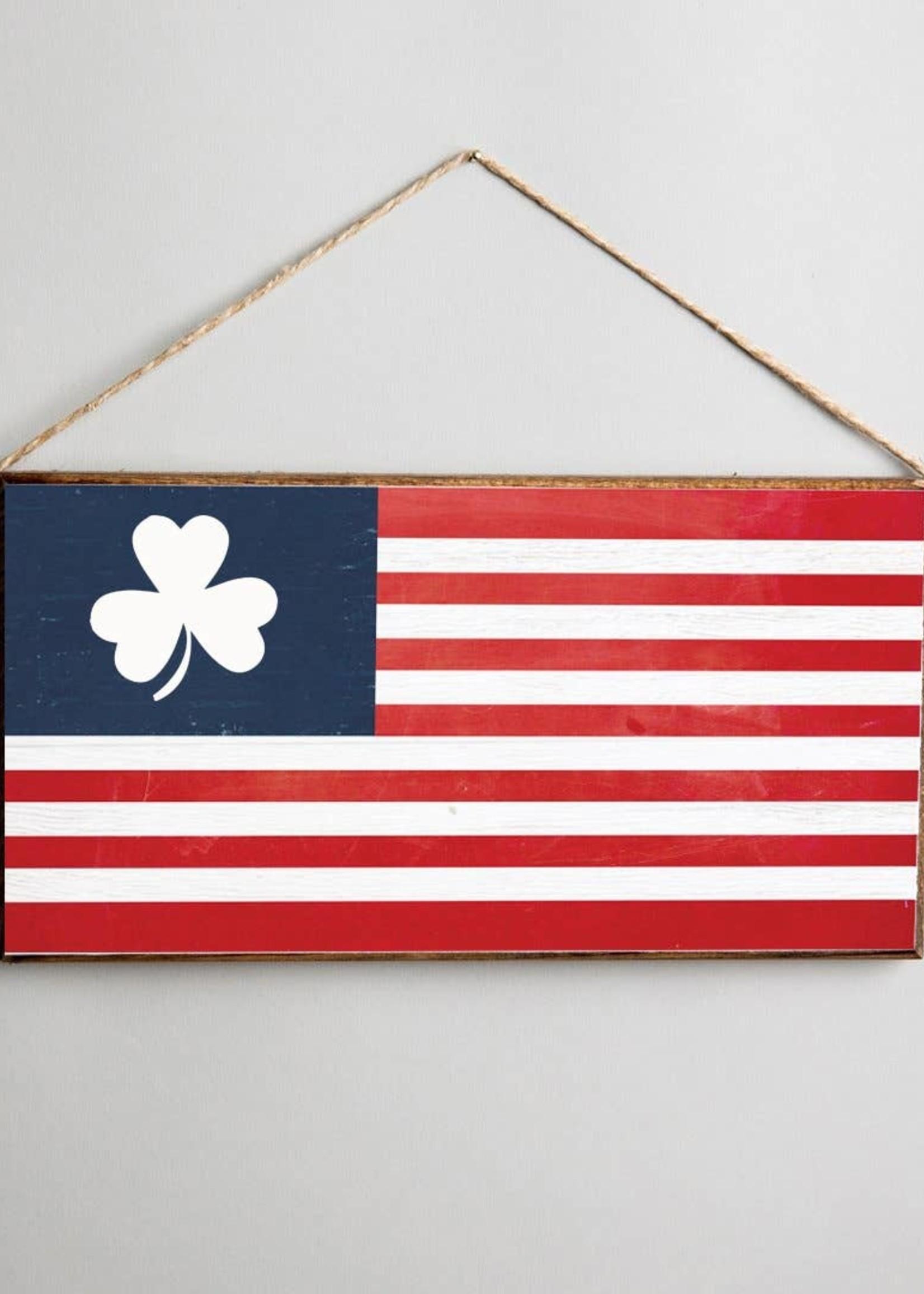 Rustic Marlin Shamrock US Flag Hanging Sign