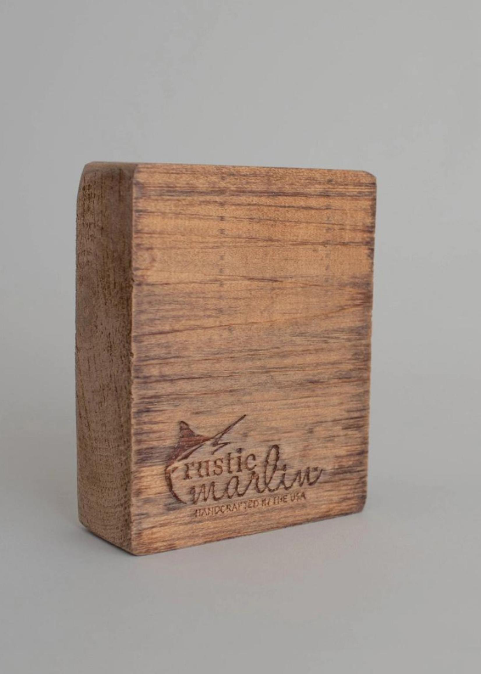 Rustic Marlin Grey Plaid Shamrock Wooden Block