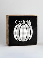 Rustic Marlin Grey Plaid Pumpkin Wooden Block