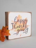 Rustic Marlin Happy Thanksgiving Decorative Wooden Block