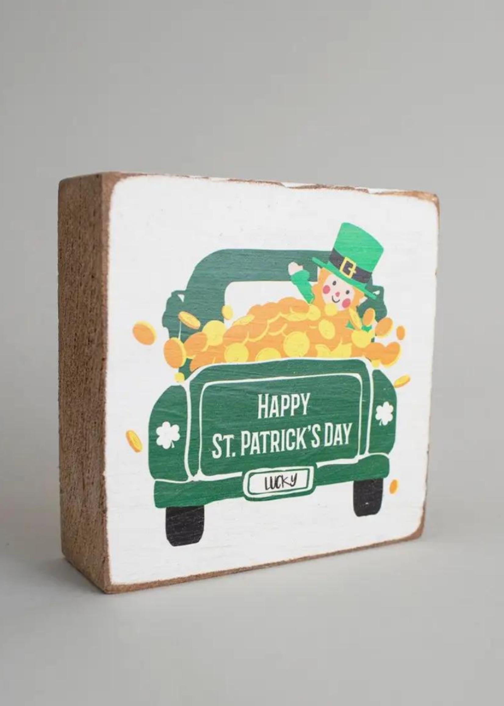 Rustic Marlin Happy St. Patrick's Day Truck Decorative Wooden Block