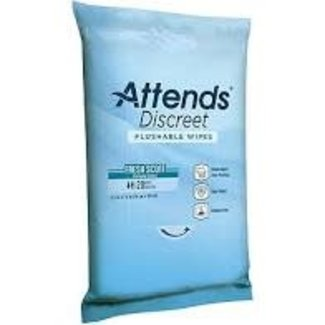 Attends Attends Discreet Flushable Wipes,  Soft Pack with Aloe & Vitamin E