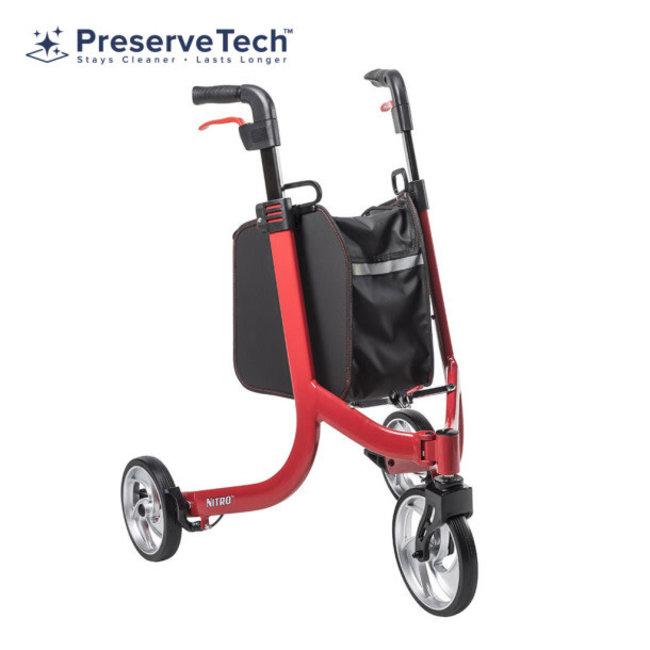Drive Medical Drive Nitro 3-Wheel Walker, Red