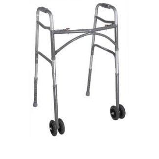 """Drive Medical Heavy Duty Wide Front Wheel Walker with Dual 5"""" wheels"""
