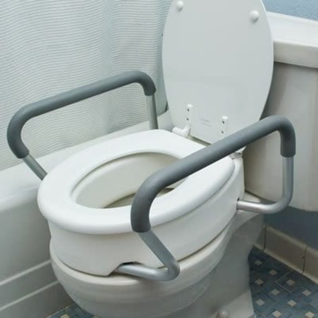 AZ MediQuip AZM Toilet Seat Riser with Safety Rails, 3in Rise, Bolt in